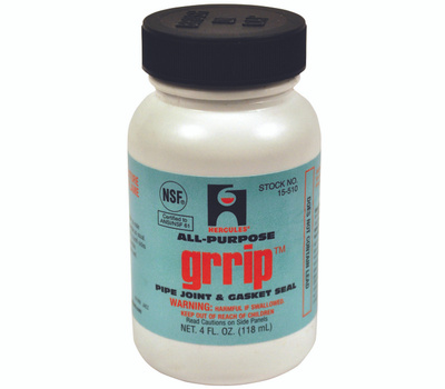 Oatey 15510 Hercules Grrip Pipe Joint and Gasket Seal, 4 Ounce Can, Liquid, Paste, Black