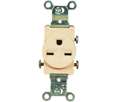 Eaton Wiring Devices 816V-BOX Single Receptacle, 2-Pole, 250 V, 15 a, Side Wiring, Nema 6-15r, Ivory