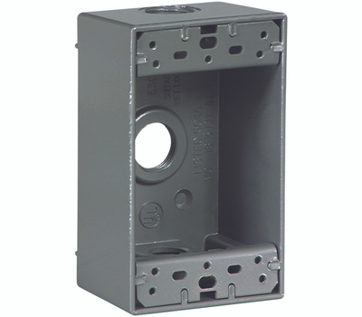Eaton Wiring Devices 1113-SP 1 Gang 3 Hole Weatherproof Outlet Box 1/2 Inch Hub Size