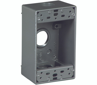Eaton Wiring Devices 1116-SP 2 Gang 3 Hole Weatherproof Outlet Box 3/4 Inch Hub Size