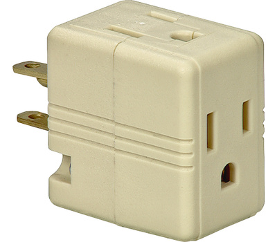 Eaton Wiring Devices 1482V-BOX 3 Outlet 3 Wire Grounded Cube Tap Ivory