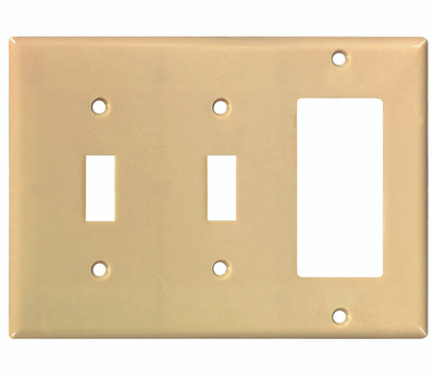 Eaton Wiring Devices 2173V-BOX 3 Gang Ivory 2 Toggle And Decorative Plate