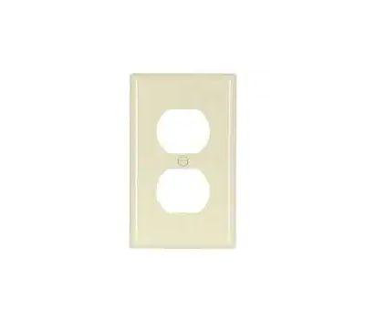 Eaton Wiring Devices 5132LA Duplex Receptacle Wallplate, 4-1/2 in L, 2-3/4 in W, 1-Gang, Nylon, Light Almond