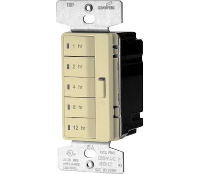 Eaton Wiring Devices PT18H-V-K Accell Wall Switch Programmable Timer With Hourly Presets Ivory