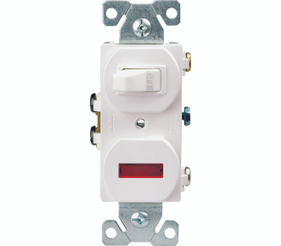 Eaton Wiring Devices 277W-BOX Combination Toggle Switch, 15 a, 120 V, Screw Terminal, Steel Housing Material, White
