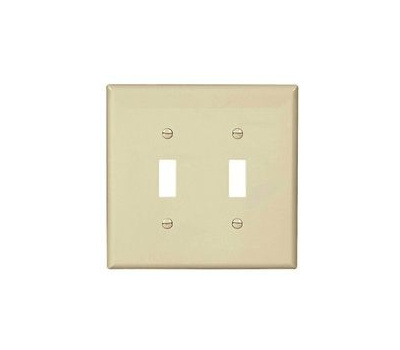 Eaton Wiring Devices PJ2LA Switch Wallplate, 4.87 in L, 4.94 in W, 2-Gang, Polycarbonate, Light Almond, High-Gloss