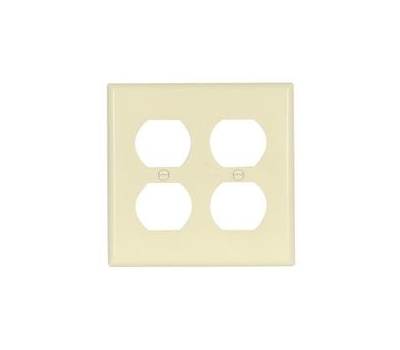 Eaton Wiring Devices 2150LA-BOX Duplex Receptacle Wallplate, 4-1/2 in L, 4-9/16 in W, 2-Gang, Thermoset