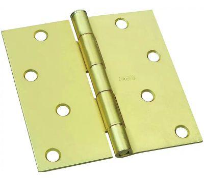 National Hardware S690-293 N830-231 N176-644 Stanley Door Hinge 4 Inch Square Corner Satin Brass