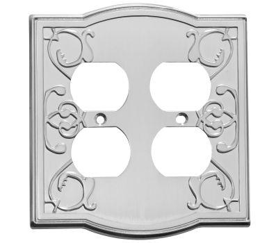 National Hardware S803-544 Stanley Victoria Double Duplex Wall Plate Satin Nickel