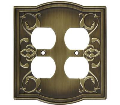 National Hardware S803-627 Stanley Victoria Double Duplex Wall Plate Antique Brass