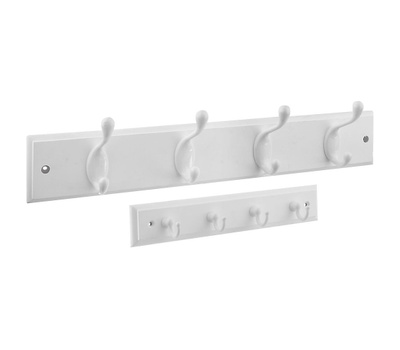 National Hardware S804-336 Coat And Hat Rail 18 Inch Plus 8-3/4 Inch Key Tidy Combo Pack White With White Hooks