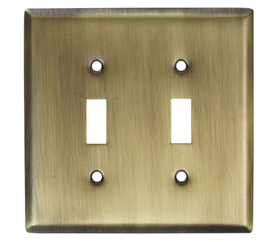 National Hardware S805-929 Stanley Basic Double Switch Wall Plate Antique Brass