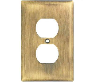 National Hardware S806-034 Stanley Basic Single Duplex Wall Plate Antique Brass