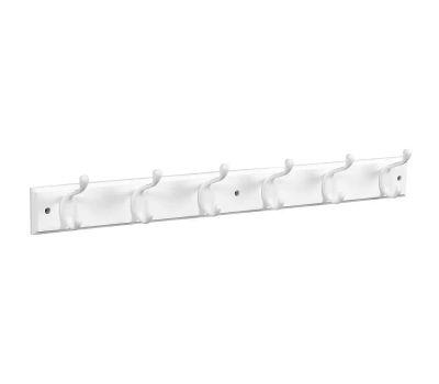 National Hardware S812-974 = S827-071 Stanley Hook Rail 27 Inch 6 White Hooks White Wood Rail