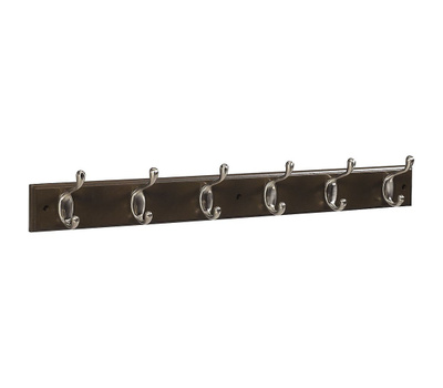 National Hardware S813-006 = S827-113 Stanley NOW 033923827119 Hook Rail 27 Inch 6 Satin Nickel Hooks Walnut Finish Wood Rail
