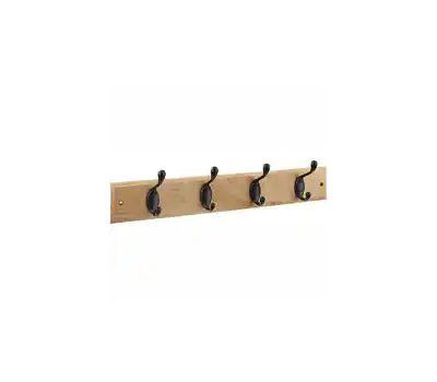 National Hardware S813-022 S827-139 Stanley Hook Rail 18 Inch 4 Oil Rubbed Bronze Hooks Oak Finish Wood Rail
