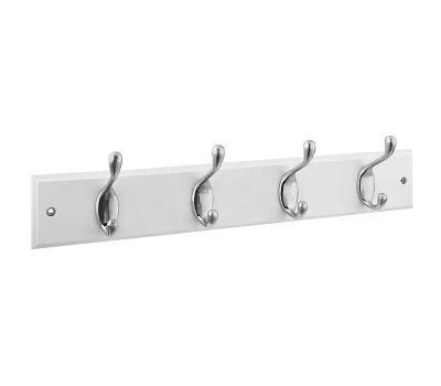 National Hardware S813-030 S827-147 NOW 033923827140 Hook Rail 18 Inch 4 Satin Nickel Hooks White Wood Rail