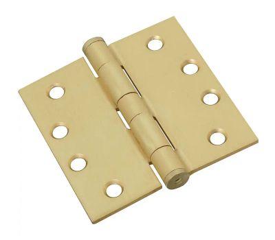 National Hardware S820-654 3xN236-126 Stanley Commercial Door Hinges 4 Inch Square Corner Satin Brass 3 Pack