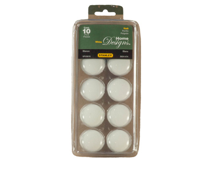 National Hardware S824-474 Stanley Porcelain Cabinet Knobs 1-5/16 Inch White 10 Pack