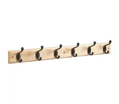 National Hardware S827-089 = S812-982 Hook Rail 27 Inch 6 Oil Rubbed Bronze Hooks Natural Finish Rail