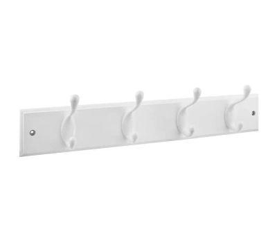 National Hardware S827-121 Hook Rail 18 Inch 4 White Hooks White Wood Rail