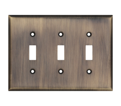 National Hardware S832-923 Stanley Basic Triple Switch Wall Plate Antique Brass