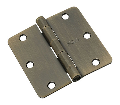 National Hardware S849-364 G849-364 N830-175 Gatehouse Door Hinge 3 Inch 1/4 Radius Antique Brass