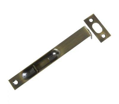 National Hardware S849-588 G803-998 N327-684 N197-954 Gatehouse Square Corner Recessed Flush Bolt 6 Inch Solid Brass Antique Brass