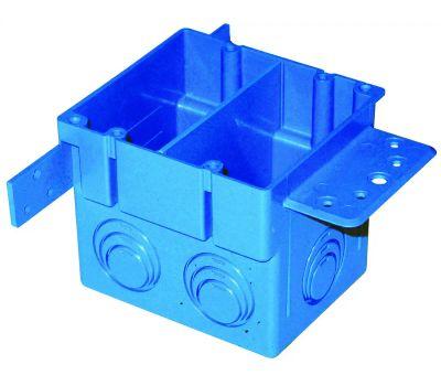 Carlon A238 Outlet Box, 2-Gang, 5-Knockout, Pvc, Blue, Bracket Mounting
