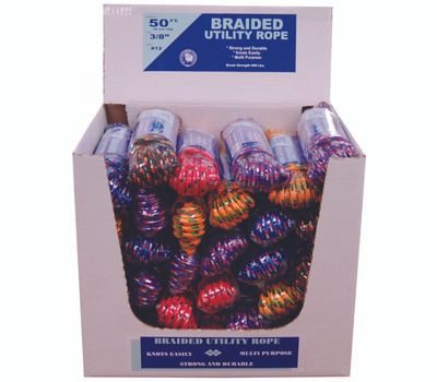 Wellington Cordage 99012 3/8 X 50 Braided Ply Rope Assorted Color