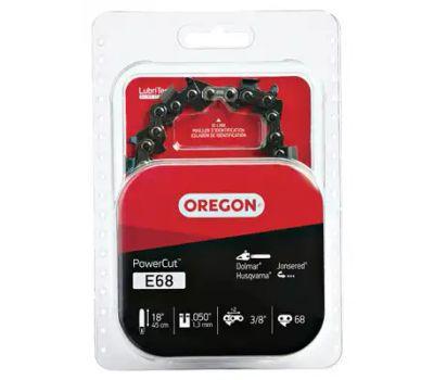 Oregon Cutting E68 Powercut Saw Chain, 18 in L Bar, 0.05 Gauge, 3/8 in Tpi/Pitch, 68 -Link
