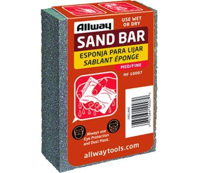 Allway MF Sandbar, 4 in L, 2-1/2 in W, Fine/Medium, Aluminum Oxide Abrasive
