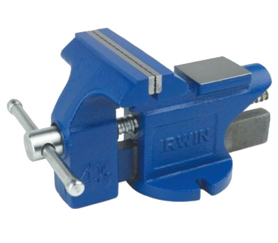 Irwin 2026303 Bench Vise, 4 in Jaw Opening, 4-1/2 in W Jaw, 2-3/8 in D Throat, Cast Iron/Steel, Pipe Jaw