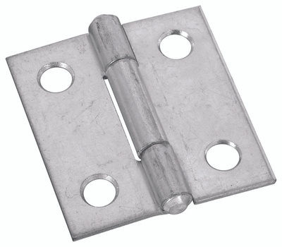 National Hardware N145-912 Non-Removable Fixed Pin Narrow Hinge 1 By 1 Inch Zinc Plated Steel Bulk