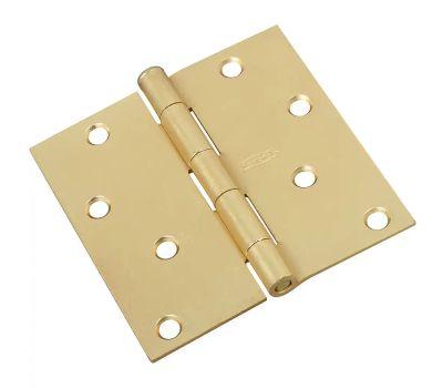 National Hardware N176-644 Door Hinge 4 Inch Square Corner Satin Brass