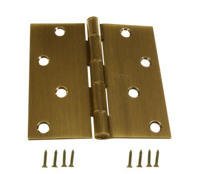 National Hardware N176-651 Door Hinge 4 Inch Square Corner Antique Brass