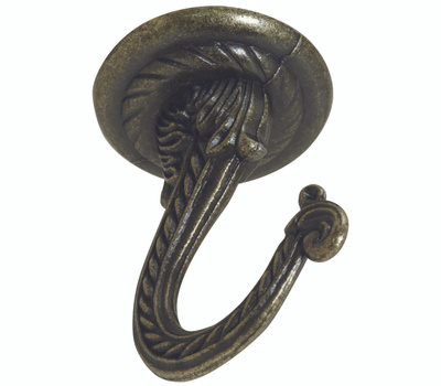 National Hardware N274-852 Large Ceiling Swag Hook 2-1/4 Inch Antique Brass Die Cast