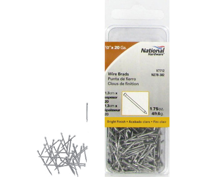 National Hardware N278-382 Wire Brads 20 Gauge By 1/2 Inch Bright Finish