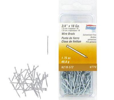National Hardware N278-572 Wire Brads 18 Gauge By 3/4 Inch Galvanized Finish