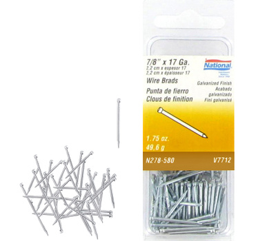 National Hardware N278-580 Wire Brads 17 Gauge By 7/8 Inch Galvanized Finish