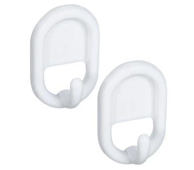 National Hardware N308-197 S752-017 Self Adhesive Oval White Plastic Hooks 2 Pack