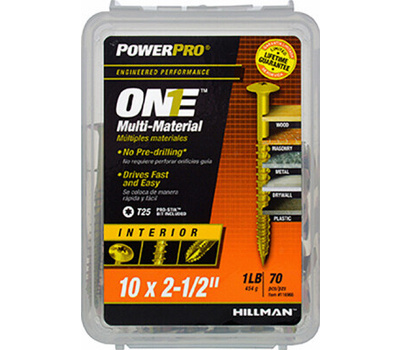 Hillman 116966 Interior Wafer Head Star Drive #10 By 2-1/2 Inch Multi Material Screws Yellow Zin Plated 68 Pack