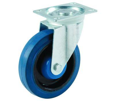 Shepherd Hardware 9260 4 Inch Blue Rubber Wheel Swivel Plate Caster