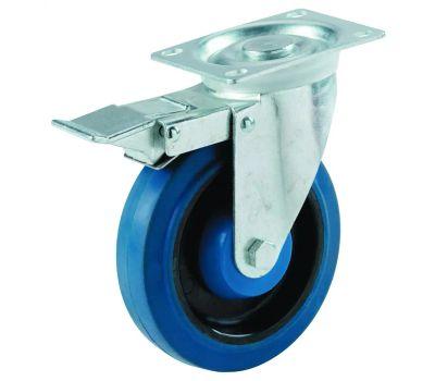 Shepherd Hardware 9262 5 Inch Blue Rubber Wheel Swivel Plate Caster With Brake