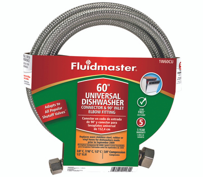 Fluidmaster 1W60CU No Burst 60 In Dishwasher Connector With Elbow