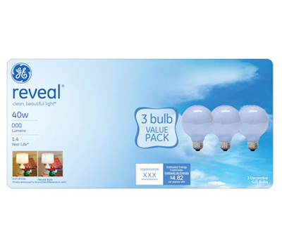 GE Lighting 11676 40 Watt Reveal Incandescent Bulb Globe Shape White