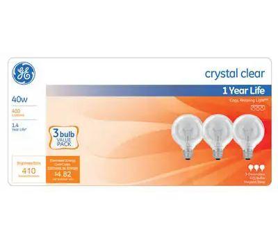 GE Lighting 44739 40 Watt Incandescent Globe Bulb G Shape Crystal Clear 3 Pack