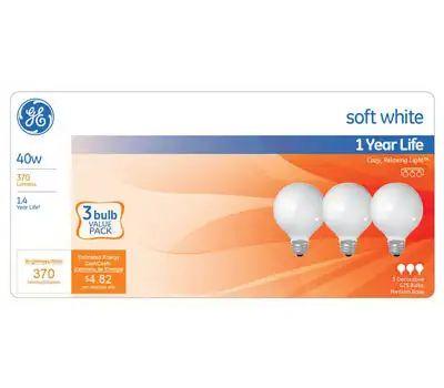 GE Lighting 44742 40w Wht Globe Bulb 3 Pack