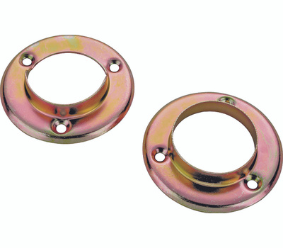 ProSource 23702CZX-PS Metal Pole Socket Set For 1-3/8 Poles Satin Brass