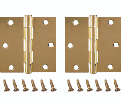 ProSource BH-202PB-PS Door Hinges Square 3-1/2 By 3-1/2 Inch Bright Brass 2 Pack